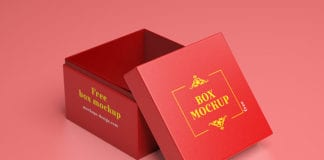 Editable Red Free Gift Box Mockup