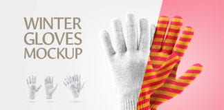 Free Editable Winter Gloves Mockup