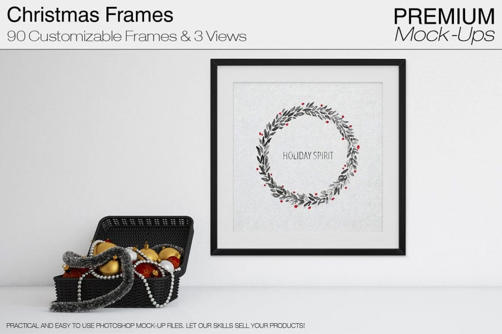 Holiday Spirit Christmas Frames Mockup Premium Pack