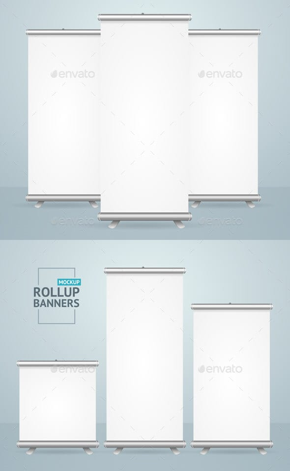 Realistic 3D Blank White Roll Up Banner Mockup Template