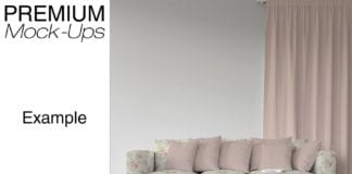 Designer Sofa Pillows and Curtains Mockup Pack