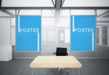 Office Posters Mockups With Chair and Table