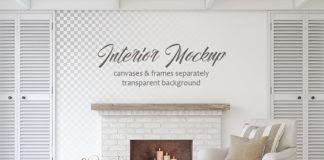 Elegant Interior mockup with Fireplace