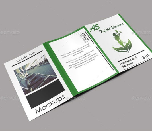 Exclusive A5 Trifold Brochure Mockup