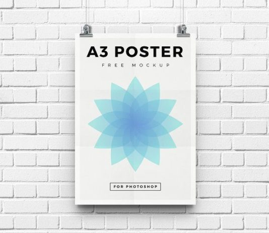 Free White Wall mounted White A3 Poster Mockup