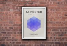 Free Wall mounted Outdoor Framed Poster Mockup