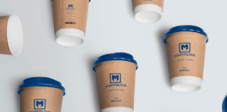 Free Photorealistic Coffee Cup with Cover Mockup