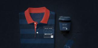 Free Modern Polo T-Shirt Mockup with coffee cup