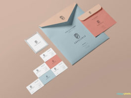 Free Clean design Beautiful Envelope Mockup with Business Card