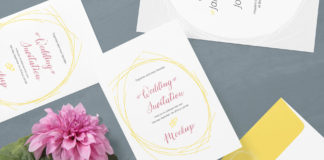 Free White Wedding Card Mockup with flower