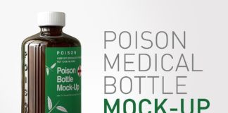 Single front view Amber Poison Bottle MockUp