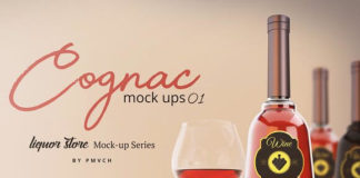 Designed Cognac Mockup with wine Glass