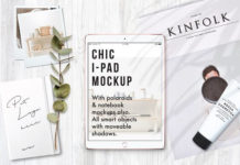 Customizable Realistic Chic Modern iPad Mockup with flower