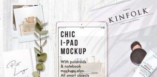 Customizable Realistic Chic Modern iPad Mockup with flower