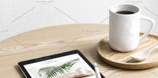 Side View iPad Lifestyle Photo Mockup with Cup