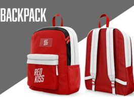 Red realistic Backpack Mockup