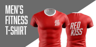 Red Realistic Men's Fitness T-Shirt Mockup