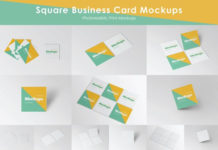 White Square Business Card Mockups