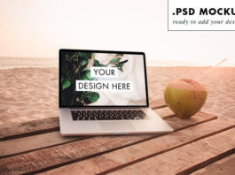 Photorealistic Paradise beach laptop with Coconut Mockup