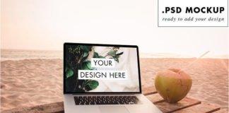 Photorealistic Paradise beach laptop with Coconut Mockup