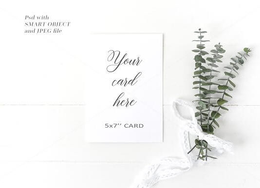White Wedding Card Mockup with Flower