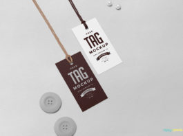 Free Swing Tag Mockup with white pearls