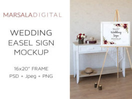 Wedding Board Mockup with flower