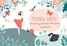 High resolution Designer Meadow Dance Florals Mockup