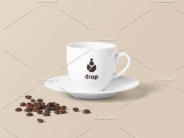 White Coffee Cup mockup with Plate