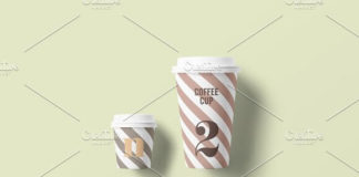 Two Front facing Paper cup mockup
