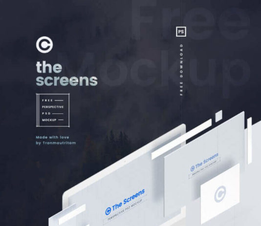 Free Perspective Screen PSD Mockup