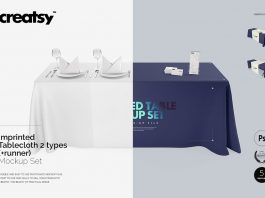 Table mockup PSD Template with Tablecloth on it