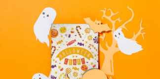 Free Psd Halloween Card Cover mockup with Ghost and Cat