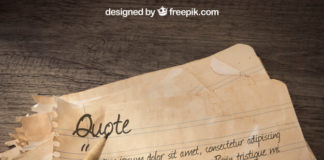 Free PSD Old paper mockup with Written Quote