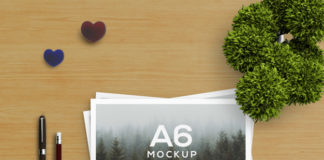 Free PSD a6 brochure mockup with Stationery concept