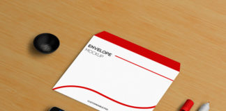 Smartphone mockup with Envelope and Stationery elements
