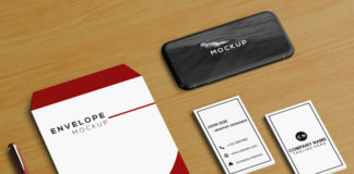 smartphone mockup with envelope and other elements