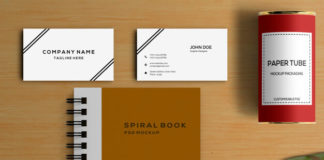 Free Front facing Spiral Book Mockup with Business card