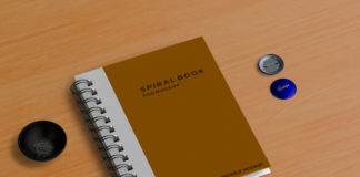 Free Spiral book mockup with Stationery concept