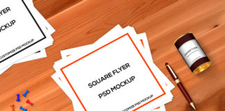Free PSD square flyer mockup with Pen