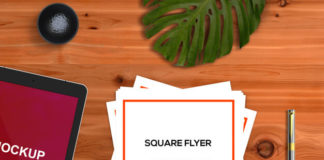 Free Square flyer PSD mockup with Stationery concept