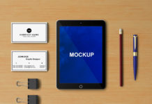Free Tablet mockup with Office stationery elements