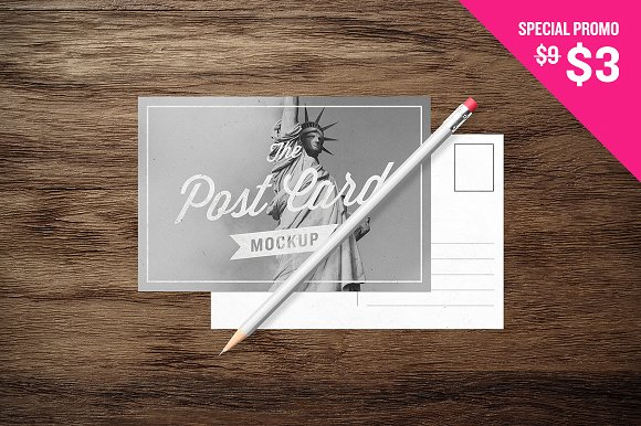 Editable Pencil Design with Postcard on Wooden Floor