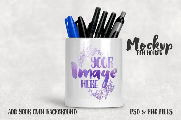 Pencil Stand mockup PSD Template