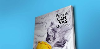 Portrait Canvas Book Mockup PSD Template