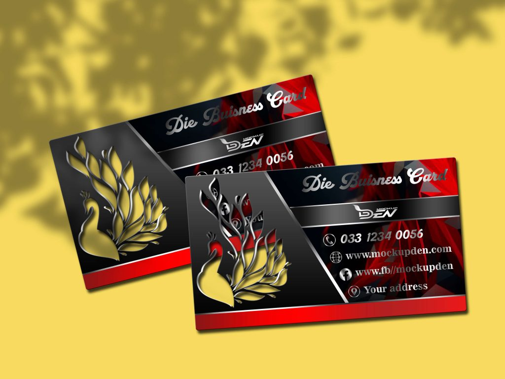 Free Black Die Business Card Mockup