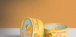 Free Orange Ice Cream Cup Mockup