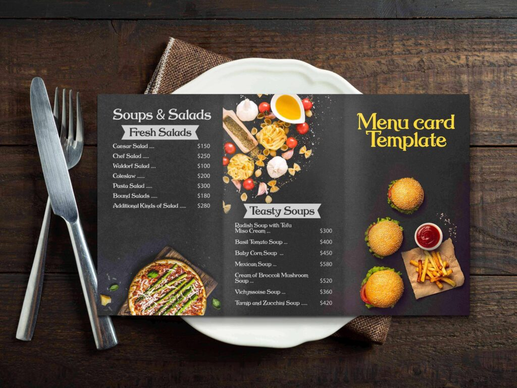 Black Menu Card Mockup Design | PSD Template