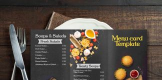 Black Menu Card Mockup
