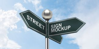 Sky View Street Sign Board Mockup | PSD Template